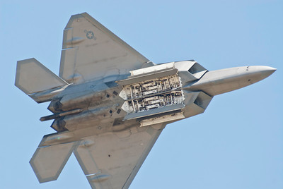 USAF F-22 Raptor with its missile bay doors open