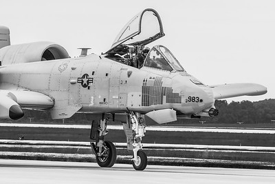 A-10 C Thunderbolt II from Davis-Monthan AFB, Arizona taxiing to the ramp along the crowd line