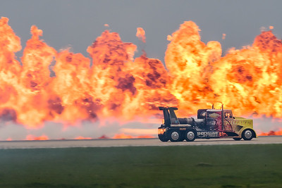 Shockwave Jet Truck in front of pyrotechnic display