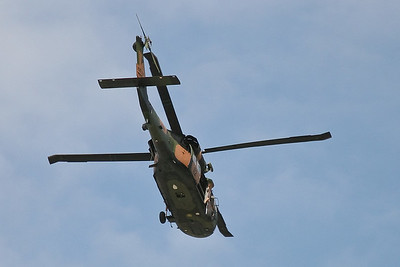Army helicopters perform low-altitude training exercises over Brisbane.