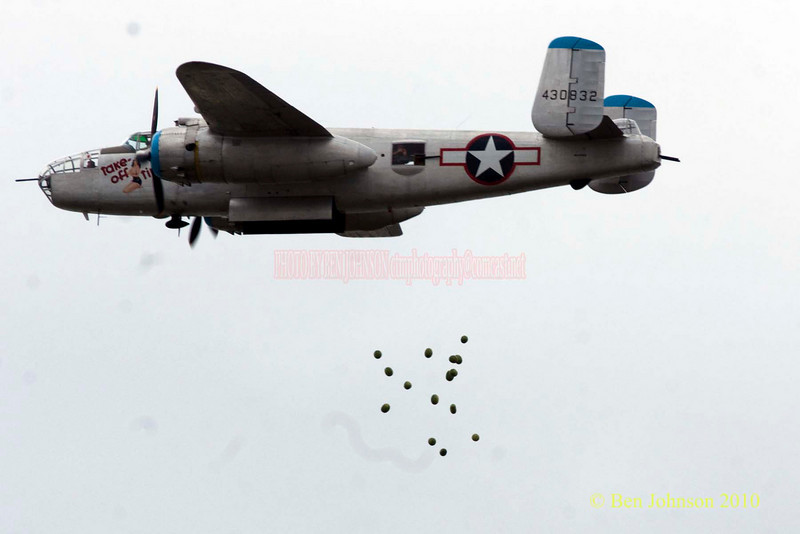 B25 Bomber dropping watermellons in a simulated bombing - Photos from the 8th annual Thunder Over The Boarwalk - 2010 Atlantic City Air Show, August 25, 2010