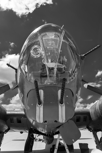 """CAF Gulf Coast Wing's B-17, """"Texas Raiders"""" sitting on the ramp at Colonel James Jabara Airport last May."""