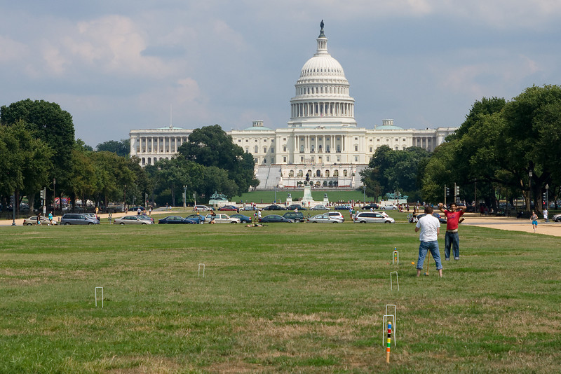 Playing croquet on the national mall.