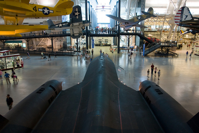 The SR-71 Blackbird looking towards the museum entrance.