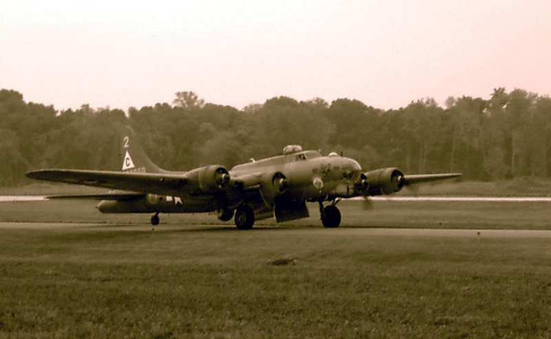 B-17 Flying Fortress heading to the runway at the St. Louis Fair and Airshow.