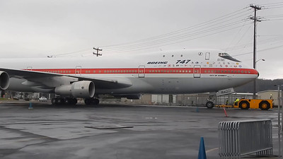 RA001 - The first Boeing 747 being moved to its temporary home at the Museum of Flight.  02-14-2015