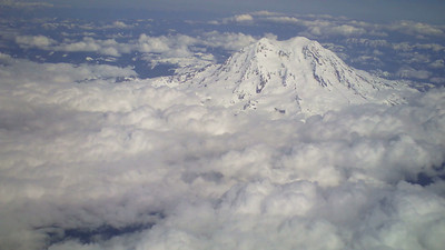 Flying past Mount Rainier