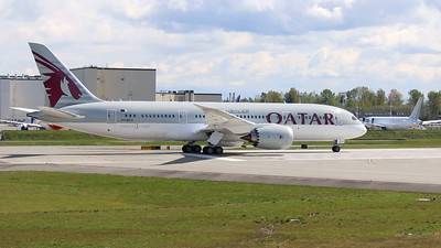 A7-BCU Qatar Airways 3372 delivery flight from Paine Field 04-08-2015