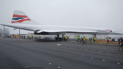 British Airways Concorde - G-BAOG being moved to a temporary location at the Museum of Flight, Seattle WA.