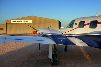 N178SG parked at Shark Bay in Western Australia (2009, Cheyenne PA31T)