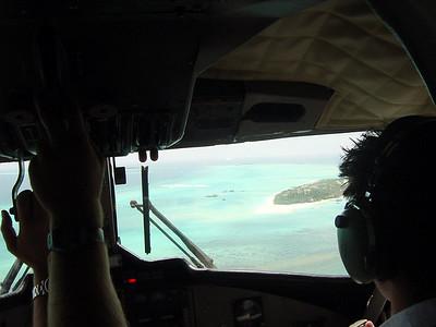 Approaching a Maldives resort island in a De Havilland Dash-6 seaplane. (2005)