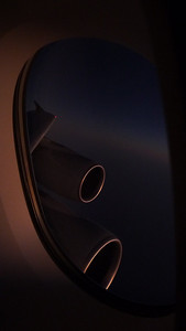 Singapore Airlines Airbus A380 climbing into the evening sky - from Sydney to Singapore