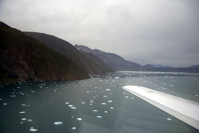 Final approach into Narsasuaq airport, Greenland during summer. There are still icebergs floating in the fjords (2001, Citationjet 525)