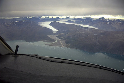 Narsassuaq airport in Greenland with the Narsasuaq glacier in the background. (2001, Citationjet 525)