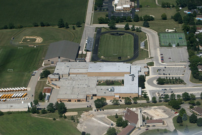 "The B-17G bomber ""Sentimental Journey"" flies over Sycamore High School on August 15, 2006."