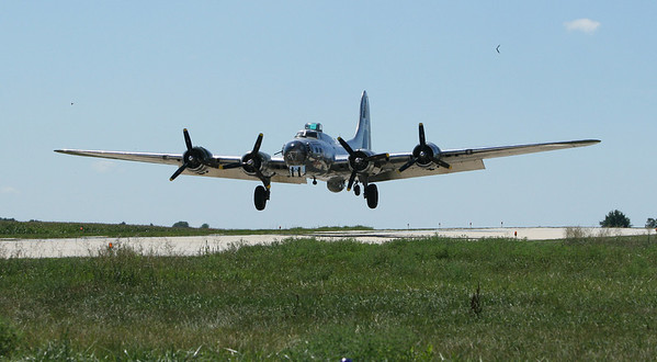 "The B-17G bomber ""Sentimental Journey""  arrives at DeKalb Taylor Municipal Airport on August 15, 2006."