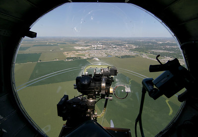 "The B-17G bomber ""Sentimental Journey"" approaches the airspace over Northern Illinois University on August 15, 2006."