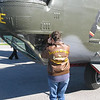 Sharon checking out the bombardier's position on the B-24.  Her Dad's jacket received a lot of comments and appreciation.