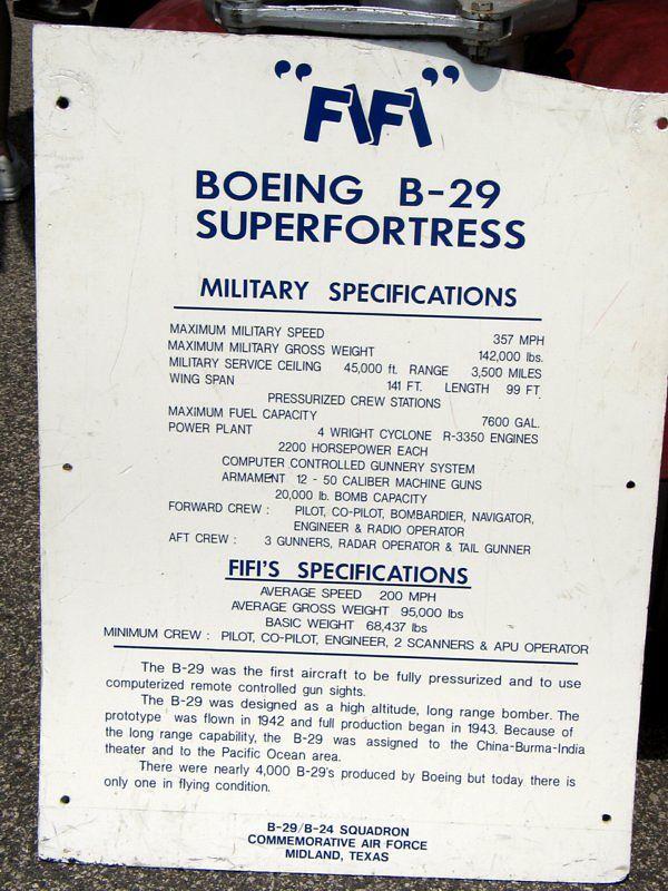 """Fifi"" B 29 superfortress"