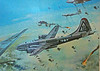 Painting of a B-29 on a bombing mission over Japan