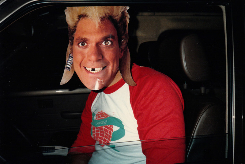YE GODS!!!<br /> Susan's husband Marc in his Joe Piscopo/Billy Idol/Jar-Jar Binks mask, and this was way before Jar-Jar Binks, too.