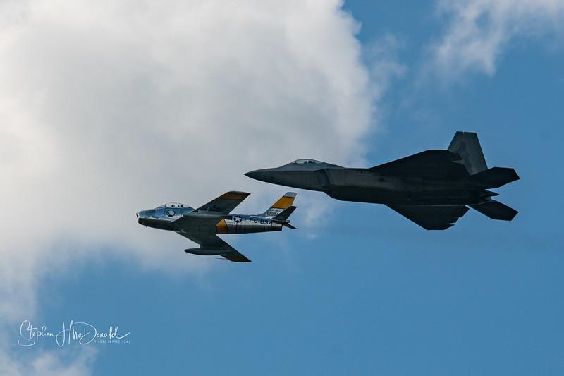 Lockheed Martin F-22 Raptor and F-86 Sabre