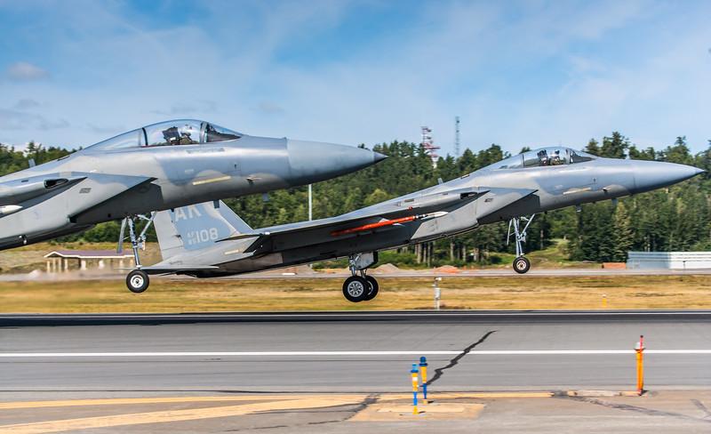 F-15C Eagles land side-by-side at Elmendorf Air Force Base in Anchorage, Alaska.