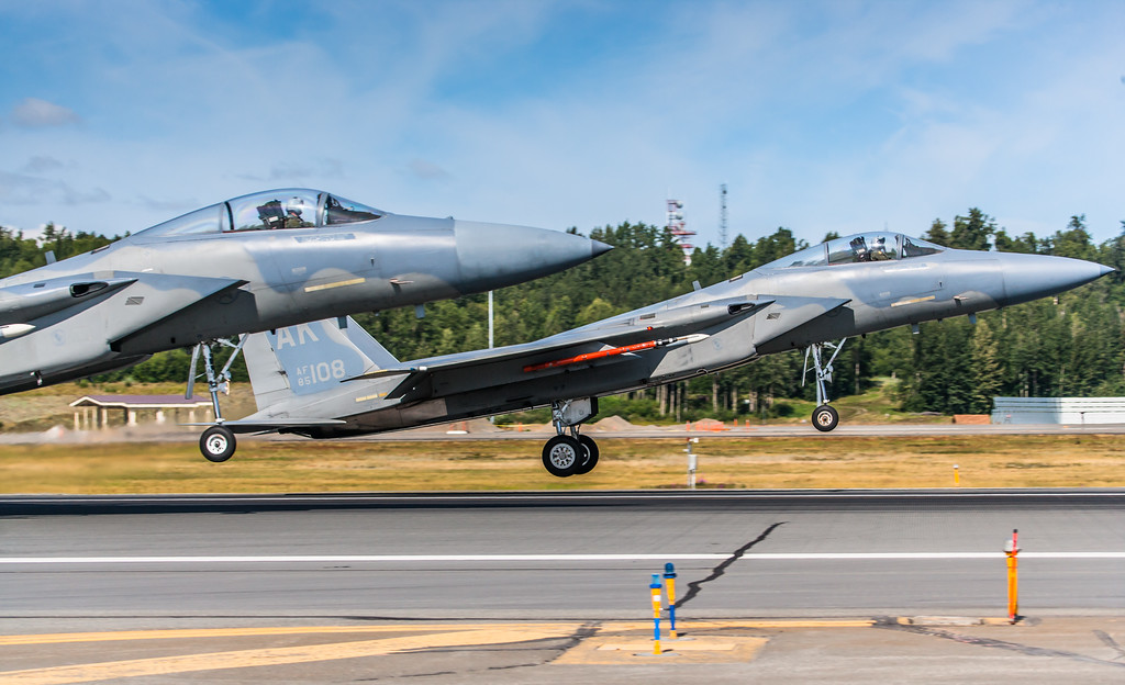 F-15C Eagles land side-by-side at Elmendorf Air Force Base in Anchorage, Alaska.