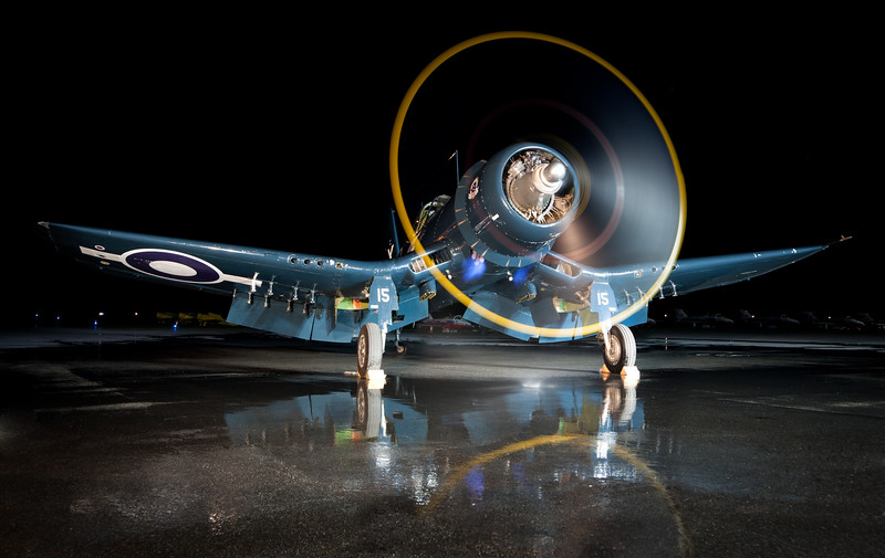Vintage Wings of Canada's FG-1D Corsair during a night time engine run in Gatineau, Quebec.