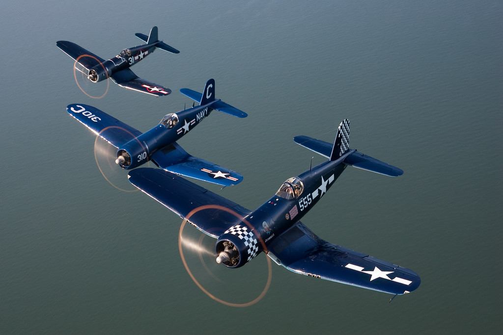 Corsairs above Long Island Sound near Bridgeport, Connecticut.