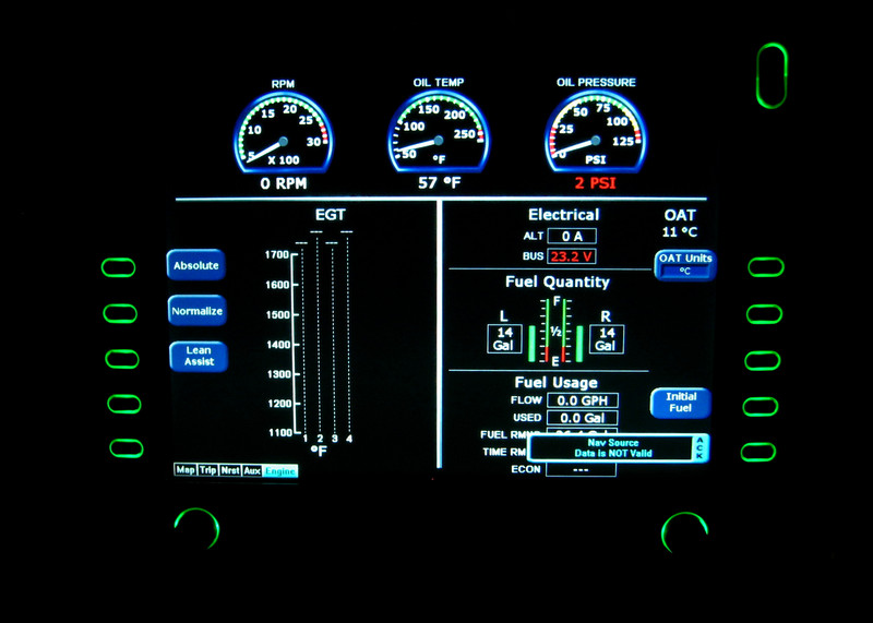 MFD Engine Page showing engine parameters, EGT's, Electrics status, fuel balance and Fuel burn.