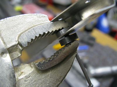 Vice-Grip hack for dimpling in tight spaces.