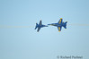 Opposing Horizontal Rolls<br /> The solo pilots converge on the centerpoint to demonstrate the rapid roll rate of the Hornet's fly-by -wire flight control system.  Crossing centerpoint they complete two consecutive rolls totaling 720 degrees with a closure rate of 800 MPH!.