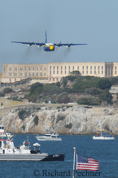 """Fat Albert, C-130, in a head on  pass over the """"box"""" , preceding the arrival of the Blue Angles."""