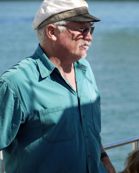 On Sunday, several of us went out on the bay in a sailboat to watch the show.  This was our captain.