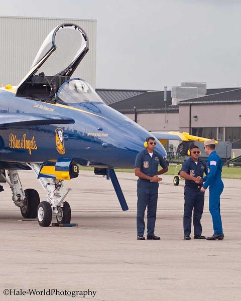 Blue Angel Pilot Congratulates His Flight Crew