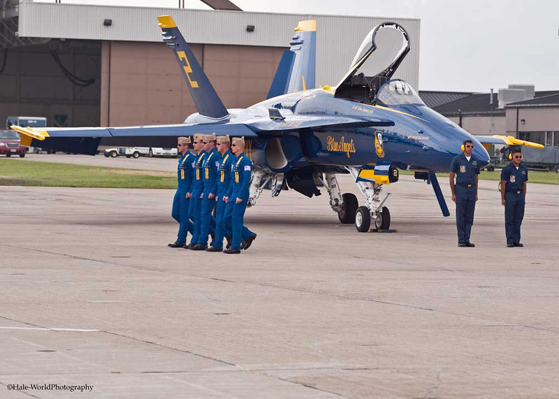 Blue Angel Pilots Marching To Their Flight Leader's Plane