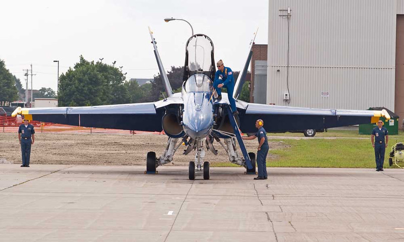 CAPT Greg McWherter, Flight Lead/Commander, Climbs Aboard His F/A-18