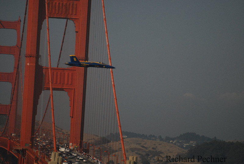 Tail 6, buzzing the cars on the Golden Gate Bridge
