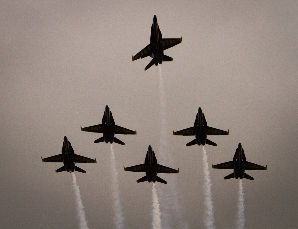 The Blue Angels fly over San Francisco International  Airport in San Francisco, Calif., on Wednesday, October 5, 2011.