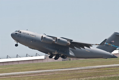 C-17 taking off from Runway 19