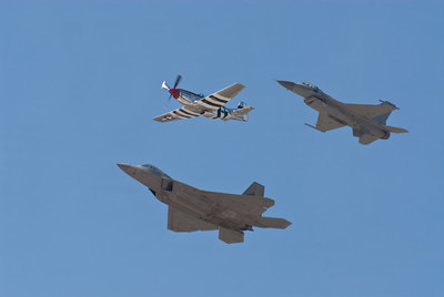 Heritage Flight with P-51D Mustang, F-22 & F-16