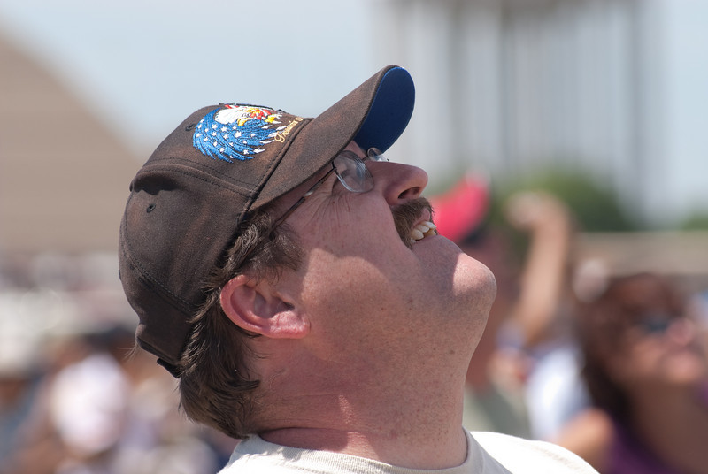 Spectator watching the Blue Angels