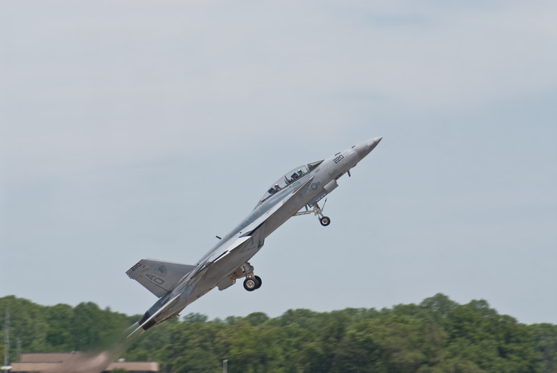 SuperHornet taking off with a high angle of attack