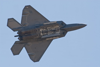 F-22 Raptor with its missile bays open