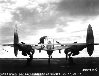 P-38 at sunset