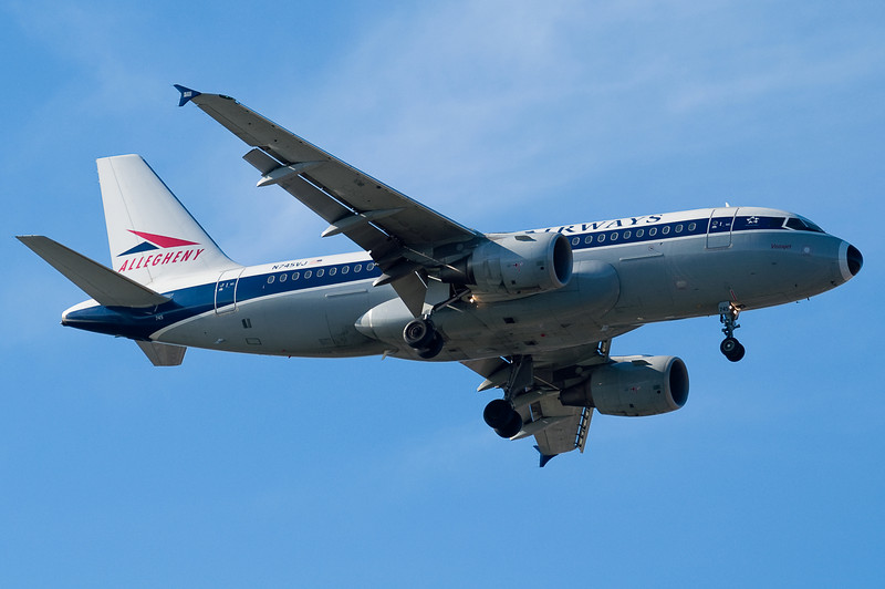 The Allegheny A319 is a tribute to Allegheny Airlines, a progenitor to the modern US Airways.