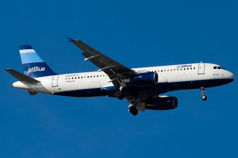 Bluebird on final for runway 04R.