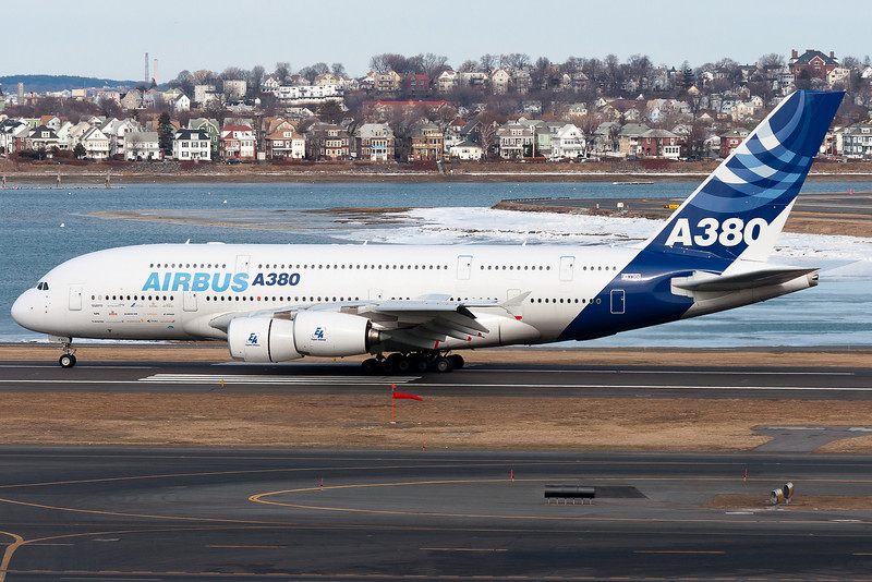 The Airbus A380 is the world's largest passenger jet, featuring double decks and four powerful engines. The A380 visited Boston's Logan International Airport for the first time today.