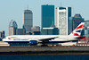 This British Airways 777 is ready to line up to depart to London with the Boston skyline in the background.